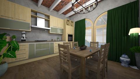 green kitchen - Rustic - Kitchen  - by monek299