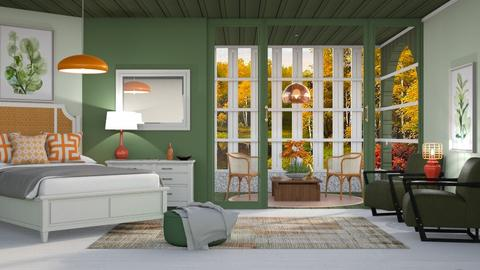 M_Green and Orange - Bedroom  - by milyca8