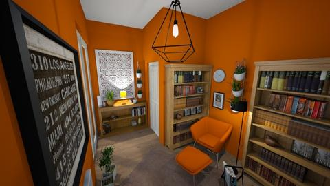 Compact orange library - Office - by mariazurkan