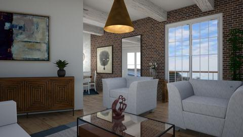 Lshaped on angle - Rustic - Living room  - by deleted_1609868595_bleeding star