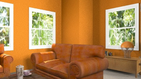 Orange room - Retro - Living room  - by eleanordaisy_