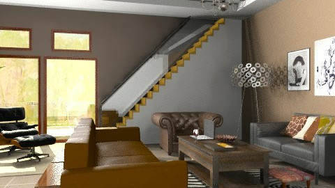 brow and red - Rustic - Living room  - by sahfs