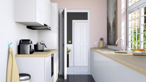 Narrow pink kitchen - Minimal - Kitchen  - by HenkRetro1960