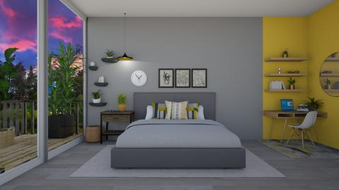 Grey and Yellow - Modern - Bedroom - by CitrusSunrise