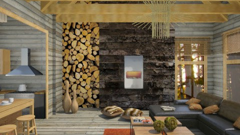 KH Modern log cabin - Rustic - Living room  - by karenhutton