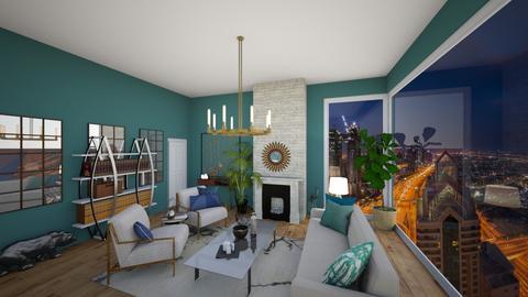 Turqoise and Metal - Living room - by lararamos