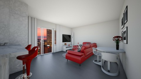 modern red  - Living room  - by Dominisiaa55555
