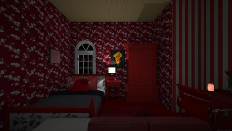 Yellow vs Red - Bedroom  - by lildivajo