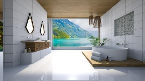 wood and tile - Eclectic - Bathroom - by YourSisterTho