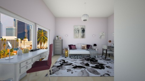 Plum and Grey - Glamour - Bedroom  - by maddys