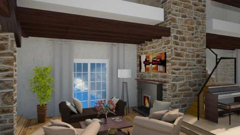 Rustic retreat - Rustic - Living room  - by Bridgemoof