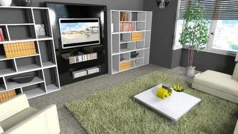 black and lemon den - Living room - by teen bedroom