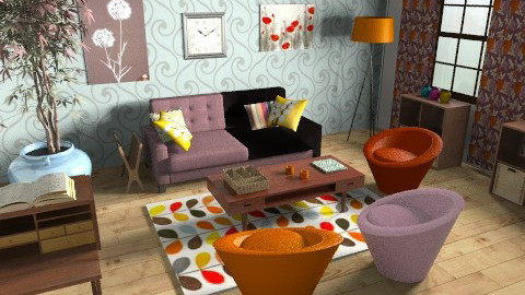 blue walls :) - Retro - Living room  - by mogly
