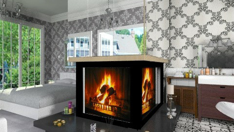 Mirror Fireplace - Modern - Bedroom  - by Bibiche