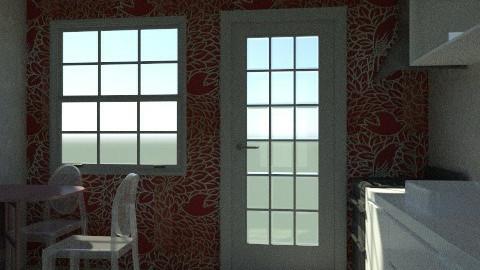 White and Red Kitchen - Minimal - Kitchen  - by drummerx33grl17