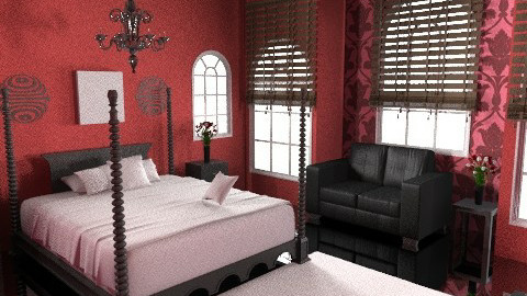 Red & Black Room - Glamour - Bedroom  - by BlondieK