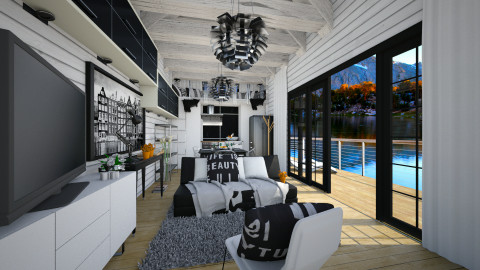 lake house view - Modern - Living room  - by Evangeline_The_Unicorn