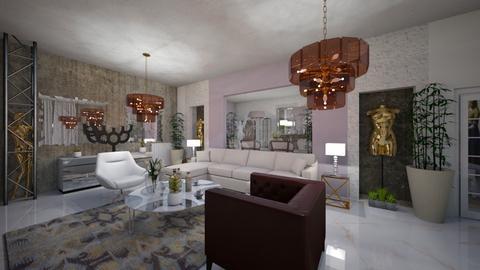 Living Room_Dinning_Modern_Interior_ - Modern - Living room - by Nikos Tsokos