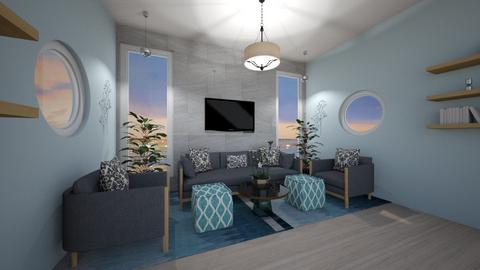 Blue and gray living room - Living room  - by Hersheys