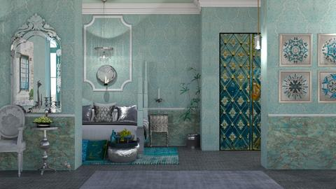 Turguoise and metal bed - by nat mi