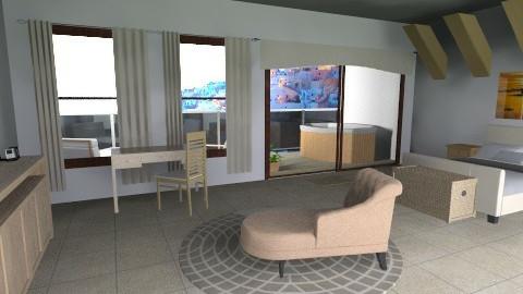Hotel Room at Santorini - Rustic - Bedroom  - by lbarriosch