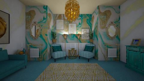 turquoise - Living room - by Kylie Awa