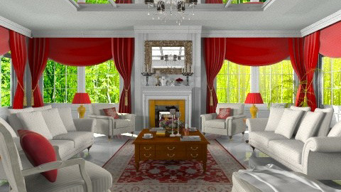 red and white - Classic - Living room  - by XValkhan
