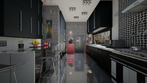 Black kitchen - Kitchen  - by milyca8