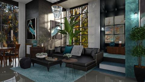 James Bond's residence - Retro - Living room  - by ZsuzsannaCs
