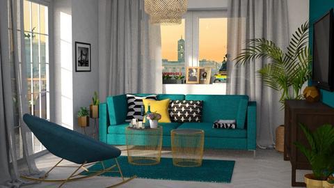 Turquoise_metal Living - Living room - by Kamila Nunes Monteiro