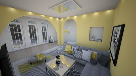Yellow and grey - Living room - by niquiche
