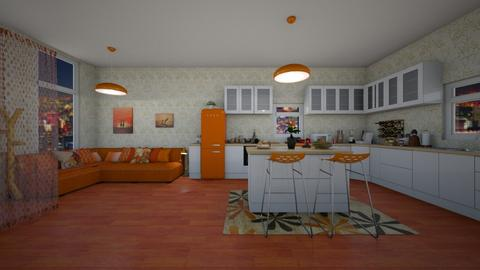 Orange Kitchen and Dining - Retro - Kitchen  - by Han Jisung