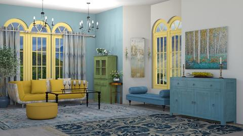 Blue and Yellow living  - Classic - Living room  - by rcrites457