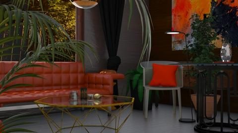 Orange living - Living room  - by rechnaya