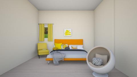 Orange bedroom - Bedroom  - by Addi_Rae