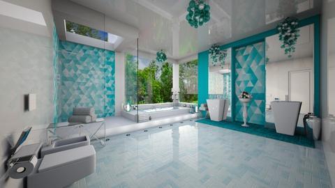 Turquoise silver bath 2 - Bathroom - by Alexandra_21