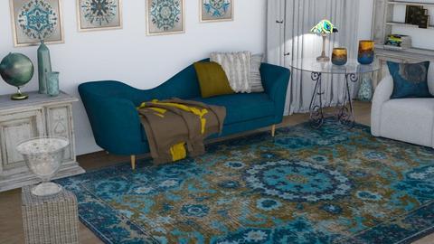 aqua rug  - Living room  - by Karen Priest