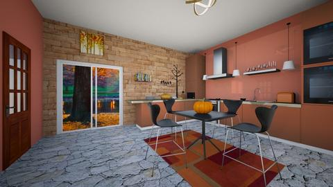 Orange and Yellow kitchen - Kitchen  - by KatDesign9