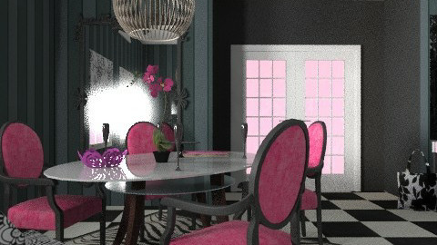 pink-black dinner - Vintage - Dining room  - by chania
