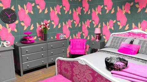 Pink and Black  - Glamour - Bedroom - by kblossey