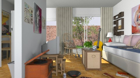 First Apartment_1972 - Eclectic - Living room - by Theadora