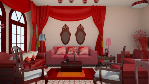 my red living room - by clarisse36