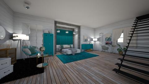 turquoise and metal room  - Bedroom - by alomireles