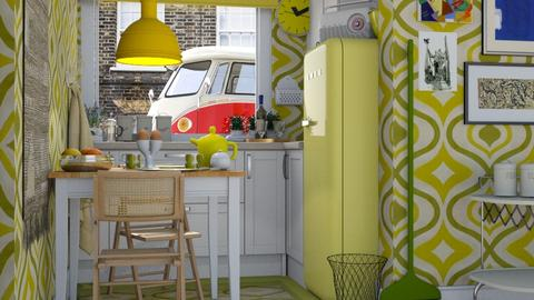 1970s Tiny Yellow Kitchen - Retro - Kitchen  - by HenkRetro1960