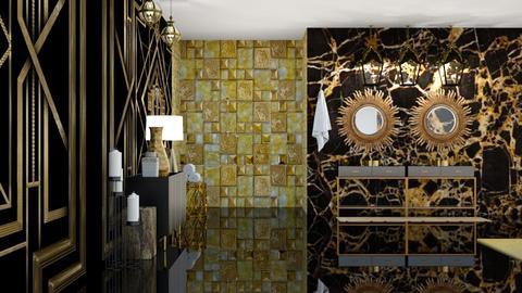 Black and Gold Bath - Bathroom  - by Feeny