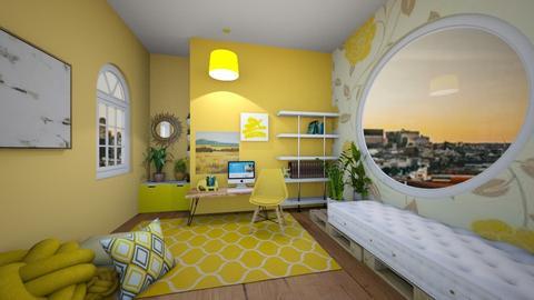 yellow workspace - Office  - by kiwimelon711