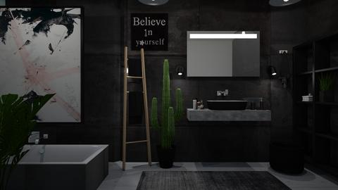 Black and plants - Modern - Bathroom - by Briianaaa
