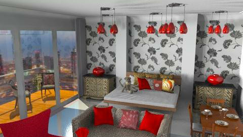 red leopard - Glamour - Bedroom  - by pascaletheard
