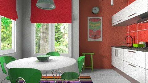 Red green kitchen - Modern - Kitchen  - by Tuija