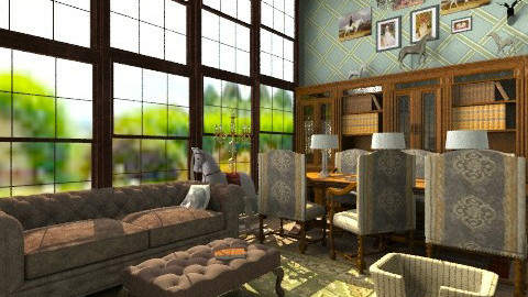 Library - Country - Living room  - by PomBom